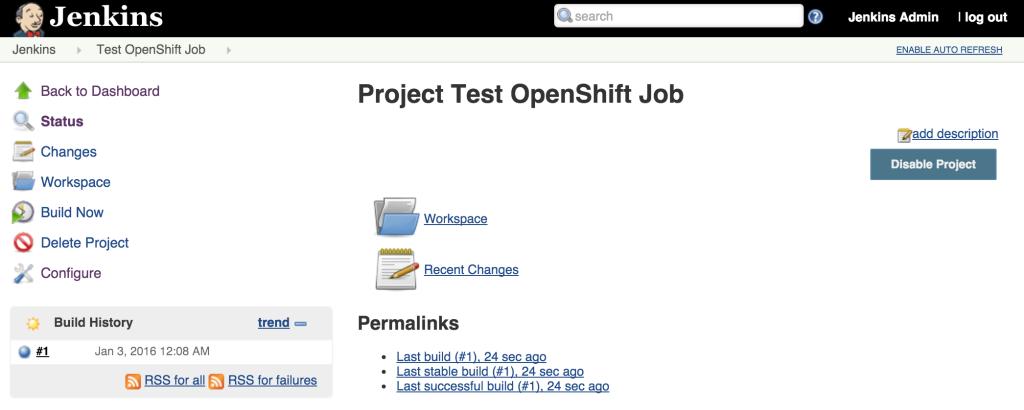 Test OpenShift Jenkins