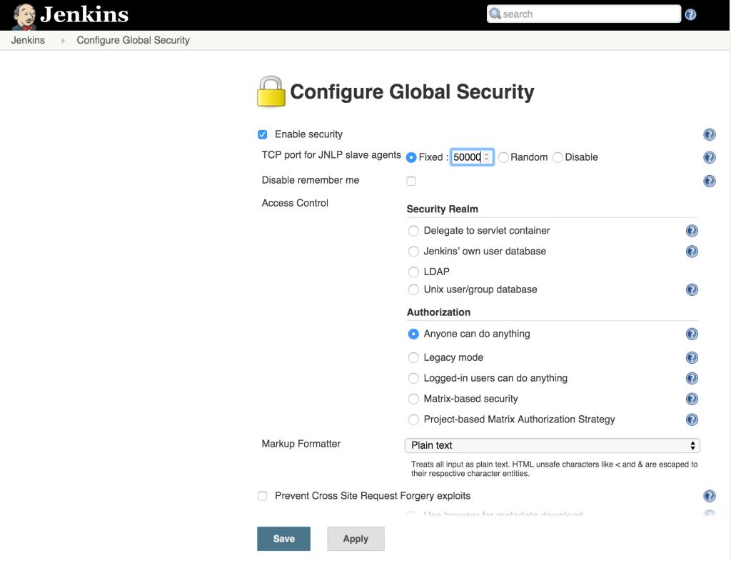 Jenkins JNLP Configuration